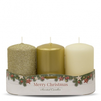 Pl golden Christmas candle 3-pack roller