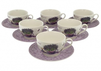 Pl set of 6 cups and saucers 250ml passion